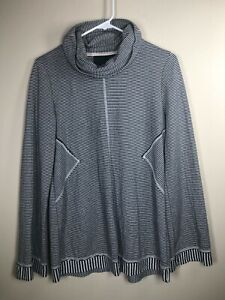 Maeve Anthro Cowl Neck Top S Black/White Stripe Turtleneck Long Sleeve Soft!