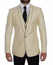 DOLCE & GABBANA Beige Polka Dot Silk 2 Piece Blazer Vest IT44/ US34/XS RRP $2600