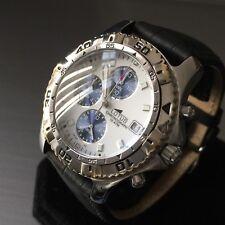 Reloj deportivo con cronógrafo para hombre lotus Fecha Acero Blanco Azul Negro Cuero Genuino