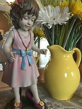 Adorable Dress Up Walking in Mom's High Heels Little Girl Statue. Great Gift