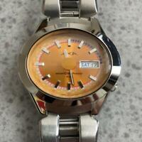 Vintage Seiko ALBA AKA V743-5A10 Quartz Orange Dial Mens Watch Works
