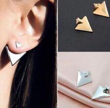 Gold toned double triangle earrings pierced