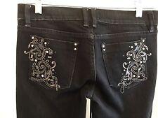 Womens Noir White House Black Market WHBM Black Embellished Jeans Sz 2R