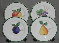 Set (4) Crate & Barrel COLORFUL FRUIT PATTERN Salad Plates GOLD TRIM