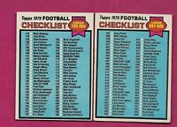 1979 TOPPS # 232 - 486 UNMARKED CHECKLIST CARD (INV# A6152)
