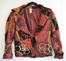 TINA NEUMANN Girls Jacket Embroidered Velvet Patchwork Paisley Boho Size 12 NWOT