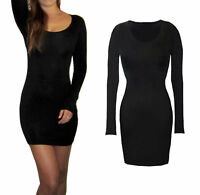 Peaches&Cream Long Sleeve Mini Bodycon Party Dress Black Size 8 10 12 14 16 18