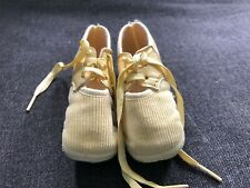 Vintage Mrs Days Ideal Baby Shoes Newborn Cream / Yellow Leath