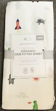 Pottery Barn Baby Kids Preston Organic Crib Fitted Sheet -New Animals Rocket Sun