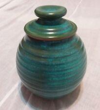 Vintage Old Original 1976 Texas Turquoise HARDING BLACK Pottery Ceramic Jar MINT