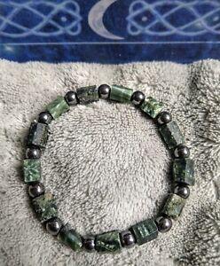 Seraphinite And Hematite Crystal Healing Bracelet Spiritual Support.
