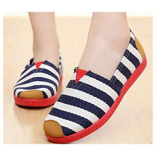 Lao Beijing Classic Stripes Canvas Comfortable Flat Shoes for Ladies EU Size 37