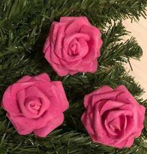 Large 8 cm Christmas Tree Rose Decoration Set Of 6 glitter Cerise Pink ❇️