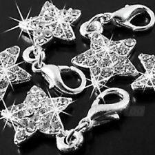 SILVER & CLEAR RHINESTONE STAR CLIP ON CHARM - NEW