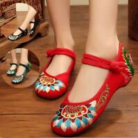 New Women Chinese Embroidered Handmade Flat Shoes Floral Mary Jane Comfort Shoes