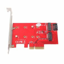 Dual Port NGFF M.2 SSD to PCI-E Express X4 B + M Key SATA PC Adapter Card Riser