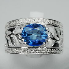 EXCELLENT!  BLUE SAPPHIRE & WHITE SAPPHIRE STERLING 925 SILVER RING SIZE 6.75