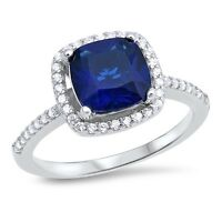 Sterling Silver 925 CUSHION SHAPE BLUE SAPPHIRE CZ ENGAGEMENT RING SIZES 5-10