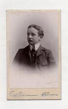 PHOTO ANCIENNE CDV Portrait Garçon FRED BOISSONNAS Genève Cravate Vers 1900