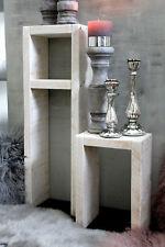 Holz Beistelltisch Shabby Hocker Kerzenständer Regal Blumen Tisch Set Antikweiß