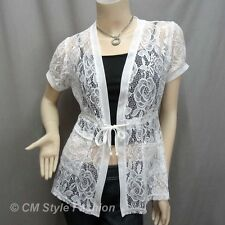 Chic Lace Pockets Drawstring Tie Long Cardigan Tunic Top White S
