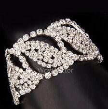 Linked Leaf Diamante Rhinestone Crystal Bridal Silver Plated Bracelet Gift Boxed