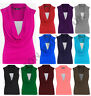 WOMENS COWL SCOOP NECK GATHERED LADIES SLEEVELESS CONTRAST LAYER TOP SIZE 8-22
