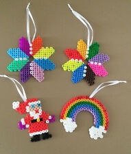 4 Hand-crafted Hama Bead Christmas Ornament Baubles.  NEW