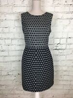 HOBBS Grey Navy Spotted Sleeveless Smart Wool Blend Pencil Dress Womens Size 12