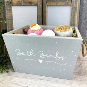 Grey Wooden Bath Bomb Bathroom Storage Box Caddy Accessory Hand-painted