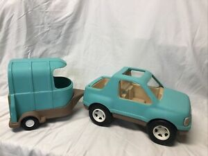 Vintage Little Tikes Truck With Horse Trailer As Is Light Tourquise