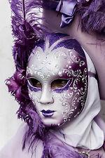 Impresionante Mascarada Baile Fiesta Máscara Lienzo cuadro #35 Colgante De Pared Arte A1