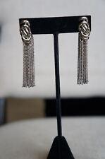 NEW Designer Rachel Zoe Silver Love Me Knot Looped Chain Tassel Earrings
