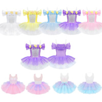 Kid Girl Lyrical Ballet Tutu Dress Gymnastics Leotard Dancewear Sequins  Costume
