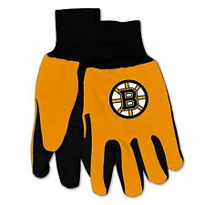 NWT NHL Boston Bruins No Slip Gripper Palm Utility Work Gardening Gloves NEW!