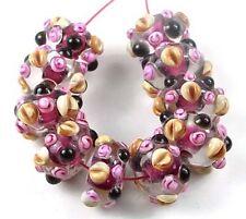 LAMPWORK Handmade Glass Rondelle beads -Wild Berry (10)