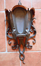 Hand Forged Outdoor Lamp with Copper Roof Wall Mount Wrought Iron 29 inch 74 cm