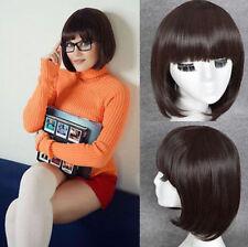 Velma Dinkley Cosplay Wig Short Bob Dark Brown Blunt Bangs Hair Full Wig+GIFT
