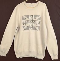 BEN SHERMAN Sweater XXL Beige Brown Long Sleeves Union Jack Cotton Gift NEW #841