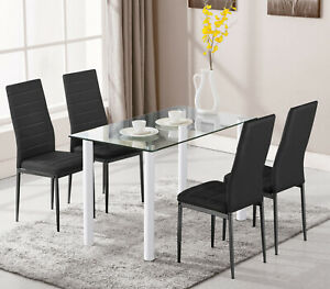 120cm Dining Glass Table and Chairs 4 6 Seater Room Kitchen Furniture Dining Set