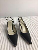 Coach Alena P471 Women's Black Leather Slingback Pointed Toe Heels Size 8.5 B