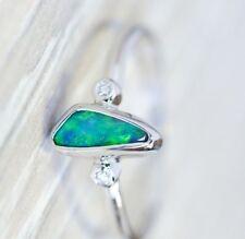 Women 925 Silver Opal Jewelry Wedding Proposal Ring Anniversary Gift Size 6-10