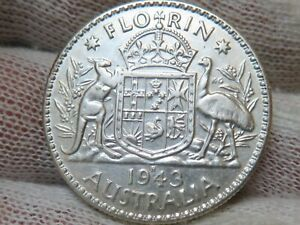 1943 S Australia Silver Florin with Free Shipping