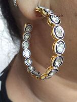 Edwardian 3.60ct Antique Cut Diamond Sterling Silver Beautiful Hoops Earring