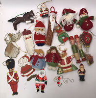 Vintage Lot of 20 Christmas Misc Ornaments, Wood, Stuffed, German, Ceramic AS IS