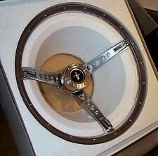 MUSTANG 65/66 WOODGRAIN STEERING WHEEL W/CENTER CAP AND HORN RING, PONY INTERIOR