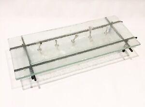 MODERN GLASS METAL BASE MULTI 5 WICKS OIL TIKI TORCH LANTERN TABLE CENTERPIECE