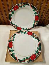 "Tienshan Christmas DECK THE HALLS 10 5/8"" Dinner Plate Poinsettias Set of 4"
