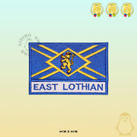 EAST LOTHIAN County Flag With Name Embroidered Iron On Sew On Patch Badge