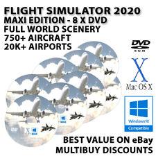Flight Simulator FlightGear 2020 MAXIEdition Windows 10 8 7 PC & MAC - 8 DISCS!